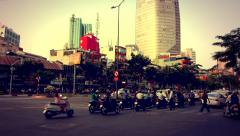 Ho Chi Minh City - April 2015: Street view, people and traffic. 4K resolution. Stock Footage