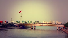 Ho Chi Minh City - April 2015: Bridge with evening traffic. 4K speed up. - stock footage