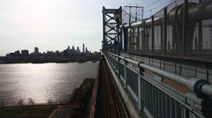 Philadelphia cityscape from the Benjamin Franklin Bridge - stock footage