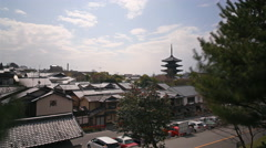 4K Time Lapse of Yasaka Tower -Historic 5-Story Pagoda in Kyoto Japan -Tilt Up Stock Footage