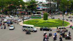 Ho Chi Minh City - April 2015: Roundabout traffic close up. 4K resolution Stock Footage