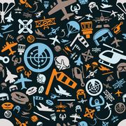 aviation seamless pattern - stock illustration