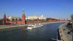Moscow Kremlin and a passenger ship sails Stock Footage