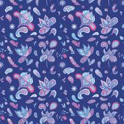 Blue Indian Pattern - stock illustration