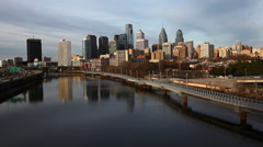 A Philadelphia cityscape with river in the foreground - stock footage