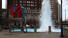 The Love Sculpture in Philadelphia Stock Footage