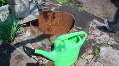 Green watering can Stock Footage