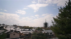 4K Time Lapse of Yasaka Tower -Historic 5-Story Pagoda in Kyoto Japan -Zoom In- Stock Footage
