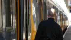 Train doors closing - stock footage