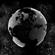 World globe, global network. Molecule structure, black background for - stock illustration