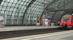 ULTRA HD 4K Regional train depart central station Berlin public transportation  Stock Footage