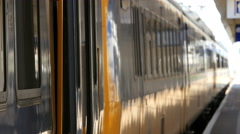 Train door closes and train leaves - stock footage
