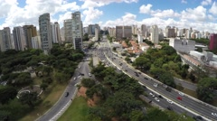 Flying over Ibirapuera in Sao Paulo, Brazil Stock Footage