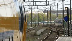 Train leaving station Stock Footage