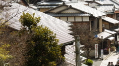 Time Lapse of Tourists on Historic Street in Kyoto, Japan -Pan Right-  Stock Footage