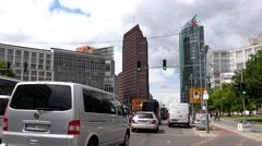 ULTRA HD 4K Timelapse congestion avenue modern skyscraper Berlin landmark day Stock Footage
