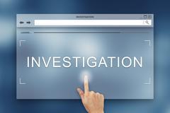 Hand press on investigation button on website Stock Illustration