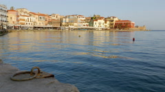 Chania Crete Harbor and Old Town Stock Footage