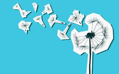 Silhouettes of dandelion in the wind Stock Illustration