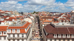 4K timelpase of Augusta street near commerce square in Lisbon , Portugal - UHD - stock footage
