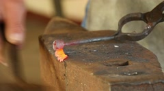 Blacksmith forges rose of nail, 4k 9 Stock Footage