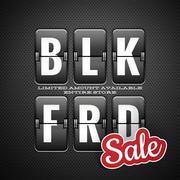 Black friday sale, analog flip clock style. EPS 10 - stock illustration