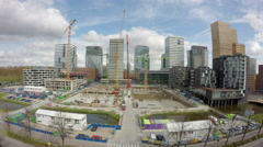 Office construction site, ultra wide shot. Stock Footage