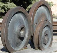 old railway wheels - stock photo