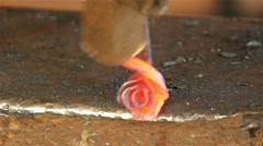 Blacksmith forges rose of nail, 4k 5 Stock Footage