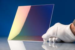 Chalcogenide glass used in a photonic integrated optical circuit (PIC) o is a - stock photo