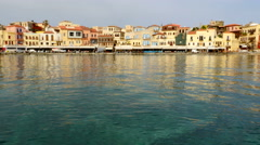 Old Town Chania Waterfront on Crete Island, Greece Stock Footage