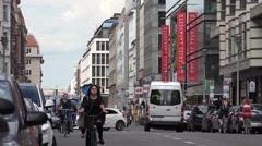 ULTRA HD 4K Busy commercial street Berlin downtown people commute day traveler Stock Footage