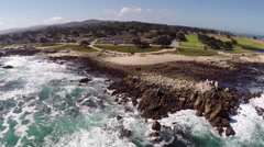 Aerial Shot of Monterey Pacific Grove Beach Stock Footage