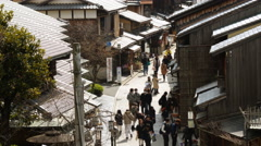4k Time Lapse of Tourists on Historic Street in Kyoto, Japan -Zoom Out- Stock Footage