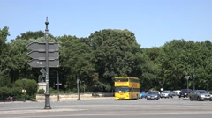 ULTRA HD 4K Pan right follow double decker touristic bus Berlin Victory statue  Stock Footage