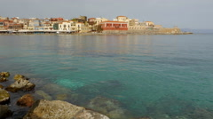 Chania, Crete Rocky Clear Water Harbor Stock Footage