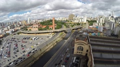 Flying over Municipal Market (Mercado Municipal) in Sao Paulo, Brazil Stock Footage