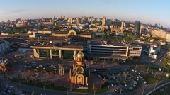 Railway station in Kiev, aerial view Stock Footage