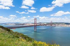 25 de Abril (April) Bridge in Lisbon - Portugal Stock Photos