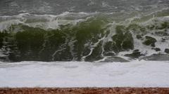 Waves Crashing on Shingle Beach Stock Footage