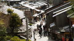 4k Time Lapse of Tourists on Historic Street in Kyoto, Japan Stock Footage