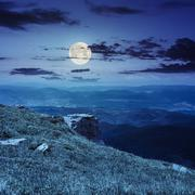 Boulders on the endge of mountain at night Stock Photos