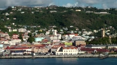 Grenada island Caribbean Sea 061 slow ride on sea along St. George's city Stock Footage
