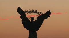 Kiev Angel at Sunset - Close Up Stock Footage