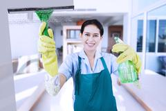 Friendly maid cleaning a mirror Stock Photos
