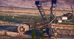 Giant Brown Coal Mine with Bucket Wheel Excavator Stock Footage