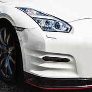 White sport car headlight Stock Photos