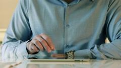 Close-Up Man Using A Tablet IPad - stock footage