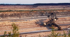 Giant Brown Coal Mine with Bucket Wheel Excavator Stock Footage