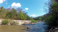 Tubing on a mountain river Stock Footage
